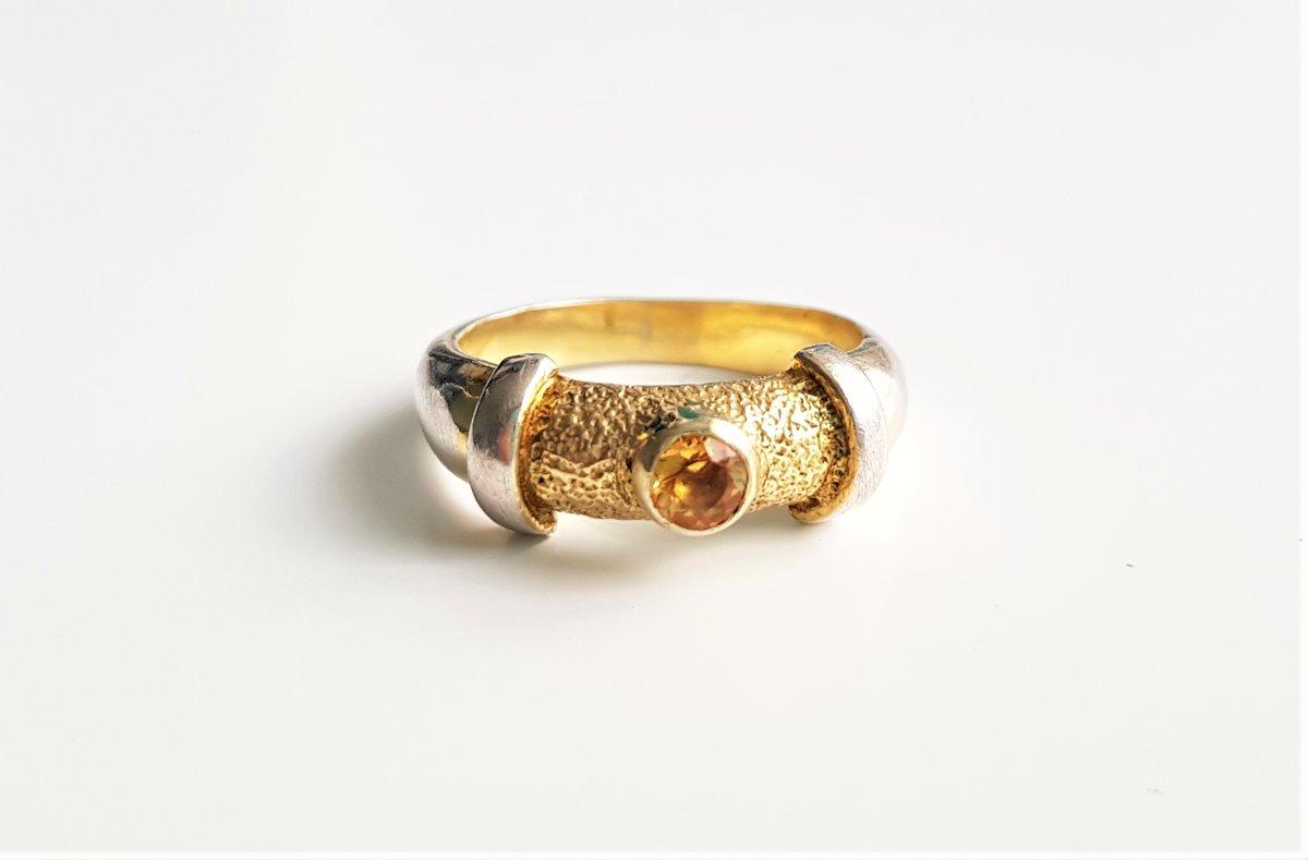 Apzeltīts sudraba gredzens ar citrīnu