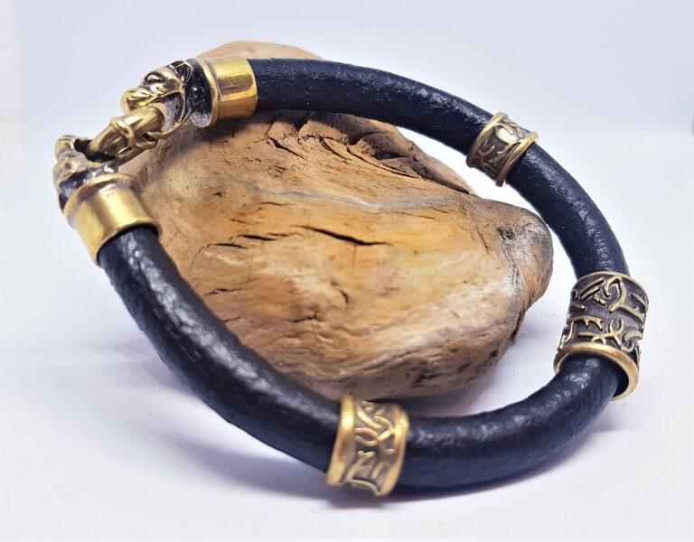 Ādas aproce ar bronzas dekoriem (melna, kods BR_010)