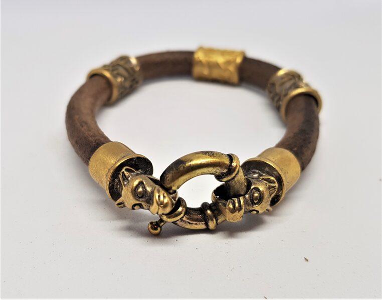 Ādas aproce ar bronzas dekioriem (brūna, kods BR_022)