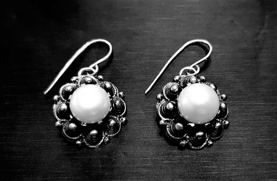 Sudraba auskari ar pērli